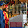 JOHN KLINE | THE GOSHEN NEWS<br /> West Noble High School Senior Co-Vice President Zachary Becker, left, and Senior Class President Brooklyn Stanley, right, provide the commencement address during the school's graduation ceremony Sunday.