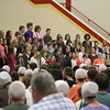 JULIE CROTHERS BEER | THE GOSHEN NEWS<br /> Westview Jr-Sr High School choral students perform Friday during the annual eighth-grade promotion and junior high awards ceremony in the school's gymnaisum.