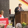 JULIE CROTHERS BEER | THE GOSHEN NEWS<br /> Westview Junior High School principal Randy Miller speaks during Friday's eighth-grade promotion and junior high awards ceremony Friday in the school's gymnasium.
