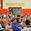 JULIE CROTHERS BEER | THE GOSHEN NEWS<br /> Westview Jr-Sr High School students listen during the presentation of awards Friday. The annual eighth-grade promotion and junior high awards ceremony was held in the school's gymnasium.