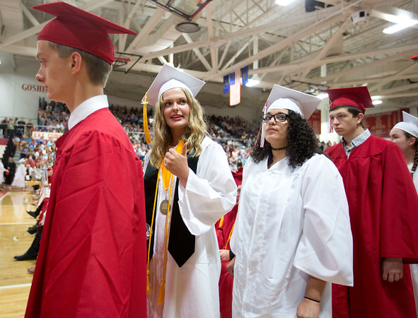 JAY YOUNG | THE GOSHEN NEWS<br /> Goshen High School graduating senior Sara Taft gives a thumbs up signal to friends as she waits in line to receive her diploma during the 2017 Commencement ceremony Sunday afternoon.