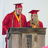 SHERRY VAN ARSDALL | THE GOSHEN NEWS At left, 2017 Westview senior co-valedictorians Seth Schrock and Karyssa Davis give a speech during the 51st commencement ceremony at Westview Jr-Sr High School in Topeka Thursday.