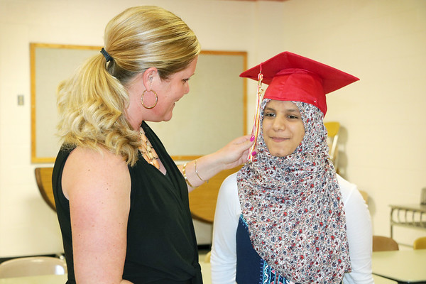 SHERRY VAN ARSDALL | THE GOSHEN NEWS At right, 2017 Westview senior Sarah Sawal talks with senior class sponsor Jennifer May before the 51st commencement ceremony at Westview Jr-Sr High School in Topeka Thursday.