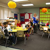 SAM HOUSEHOLDER | THE GOSHEN NEWS<br /> Dana Brown walks through her first grade class Thursday on the first day of school at West Goshen Elementary.