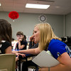 SAM HOUSEHOLDER | THE GOSHEN NEWS<br /> Dana Brown talks with one of her first grade students Thursday at West Goshen Elementary School.