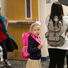 SAM HOUSEHOLDER | THE GOSHEN NEWS<br /> Raina Arbogast waits in line for breakfast at West Goshen Elementary School Thursday with other first grade students.