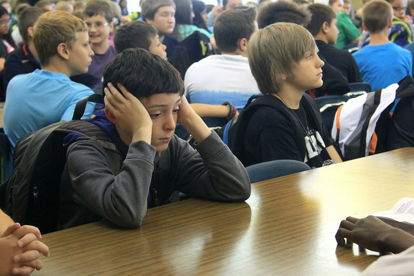 JULIE CROTHERS   THE GOSHEN NEWS<br /> Sixth grader Gavin Williams soaks it all in on the first day of school Wednesday at Northridge Middle School.