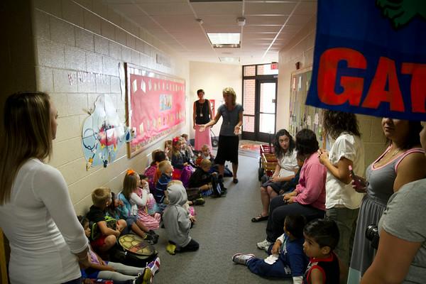 SAM HOUSEHOLDER   THE GOSHEN NEWS<br /> Tricia Brickner talks to her kindergarten class Wednesday on the first day of school at Jefferson Elementary School.