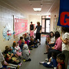 SAM HOUSEHOLDER | THE GOSHEN NEWS<br /> Tricia Brickner talks to her kindergarten class Wednesday on the first day of school at Jefferson Elementary School.