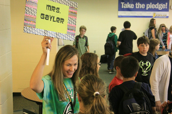 JULIE CROTHERS   THE GOSHEN NEWS<br /> Sixth grade language arts teacher Paula Gayler gathers her first period students on the first day of school Wednesday at Northridge Middle School.
