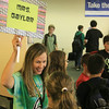 JULIE CROTHERS | THE GOSHEN NEWS<br /> Sixth grade language arts teacher Paula Gayler gathers her first period students on the first day of school Wednesday at Northridge Middle School.