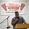 HALEY WARD | THE GOSHEN NEWS<br /> Jim Shrock, GHS class of 1975, leads the group in prayer before dinner during the Goshen High School Alumni Reunion on Sept. 1 at the Elkhart County 4-H Fairgrounds.