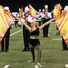 Color guard member Katie Olds holds a pose at the end of the Northridge performance.