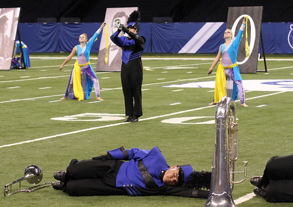 MyKayla Neilson, a senior, plays for the Fairfield marching band during the ISSMA State Band Finals at Lucas Oil Stadium.