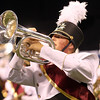 Northridge senior Jamin Herschberger plays during the Marching Raiders' performance in Indianapolis.