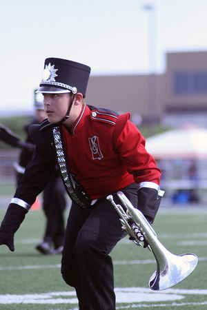 JENNIFER MEIER | THE GOSHEN NEWS<br /> Sean Fisher of NorthWood on the Mellophone is pictured Saturday.