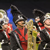 SAM HOUSEHOLDER | THE GOSHEN NEWS<br /> NorthWood student Bryan Artega plays during the ISSMA State Marching Band Finals in Indianapolis Saturday.