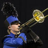SAM HOUSEHOLDER | THE GOSHEN NEWS<br /> Fairfield trombone player T.J. Jensen plays during the ISSMA State Marching Band Finals in Indianapolis Saturday.