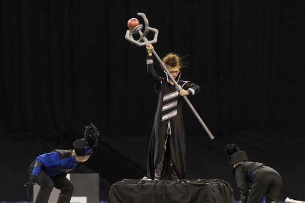 SAM HOUSEHOLDER | THE GOSHEN NEWS<br /> Fairfield color guard junior Megan Miller performs during the ISSMA State Marching Band Finals in Indianapolis Saturday.