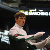 SAM HOUSEHOLDER | THE GOSHEN NEWS<br /> Concord senior drum major Andrew Daeger leads the Marching Minutemen during their performance at the state band finals Saturday at Lucas Oil Stadium in Indianapolis.