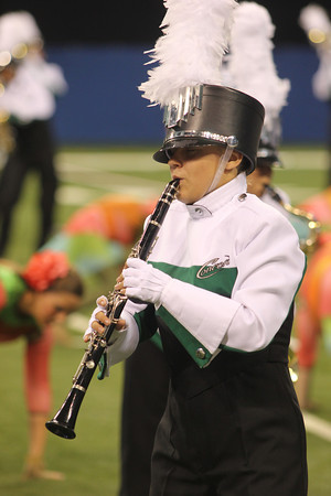 SAM HOUSEHOLDER | THE GOSHEN NEWS<br /> Concord sophomore Chelsea Wilson plays during the Concord Marching Minutemen's performance at the ISSMA State Band Finals Saturday. Concord finished second in Class B competition.