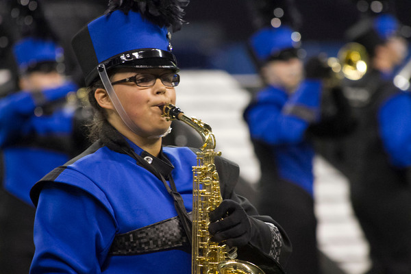 SAM HOUSEHOLDER | THE GOSHEN NEWS<br /> Fairfield student Abby Poff performs with the band during the ISSMA State Marching Band Finals in Indianapolis Saturday.