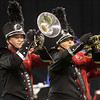 SAM HOUSEHOLDER | THE GOSHEN NEWS<br /> NorthWood brass players Reece Huber, left and Josefina Castillo, both freshman, play during the ISSMA State Marching Band Finals in Indianapolis Saturday.