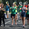 HALEY WARD | THE GOSHEN NEWS <br /> Freshman Valeria Altamirano, senior Andrea Miller, senior Marisa Longbrake and freshman Madisyn Crider play their clarinets during marching band practice at Concord High School.