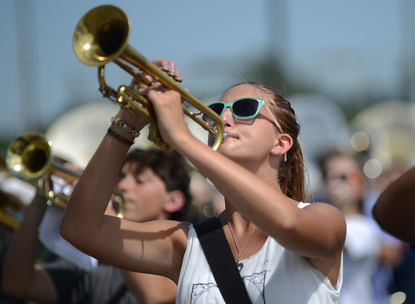 HALEY WARD | THE GOSHEN NEWS <br /> Senior Amanda Proctor plays the trumpet during marching band practiceat Concord High School.