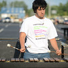HALEY WARD | THE GOSHEN NEWS <br /> Junior Tres Ruiz plays the marimba during marching band practice Thursday at Fairfield Jr.-Sr. High School.