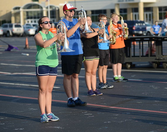 HALEY WARD | THE GOSHEN NEWS <br /> Students reherse their marching routine during marching band practice Thursday at Fairfield Jr.-Sr. High School.