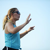 HALEY WARD | THE GOSHEN NEWS <br /> Sophomore drum major Maddie Wampler directs during marching band practice Thursday at Fairfield Jr.-Sr. School.