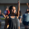 HALEY WARD | THE GOSHEN NEWS<br /> Juana Munoz practices the opening choreography during the Crimson Marching Band rehearsal Thursday at Goshen High School.