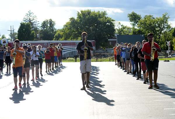HALEY WARD | THE GOSHEN NEWS<br /> Students practice marching during the Crimson Marching Band rehearsal Thursday at Goshen High School.
