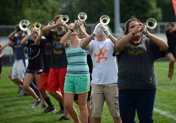 HALEY WARD | THE GOSHEN NEWS<br /> The Marching Chargers rehearse Tuesday at NorthWood High School.