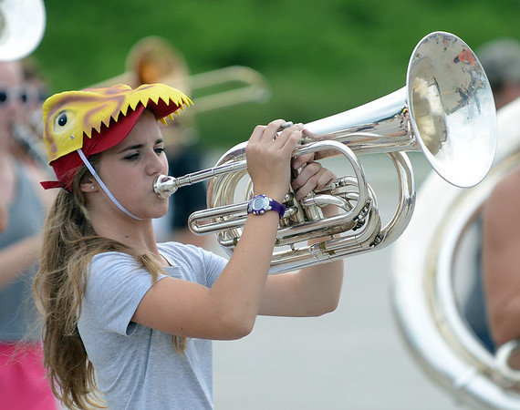HALEY WARD   THE GOSHEN NEWS<br /> Freshman Katie Dille plays the baritone during the Marching Raiders' rehearsal Tuesday at Northridge High School.