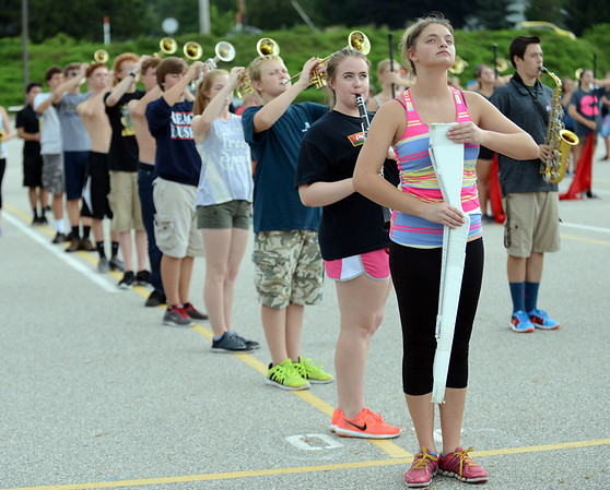 HALEY WARD | THE GOSHEN NEWS<br /> The Marching Raiders rehearse their Edgar Allan Poe themed routine Tuesday at Northridge High School.