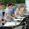 HALEY WARD | THE GOSHEN NEWS<br /> Students perform during the Marching Raiders' rehearsal Tuesday at Northridge High School.