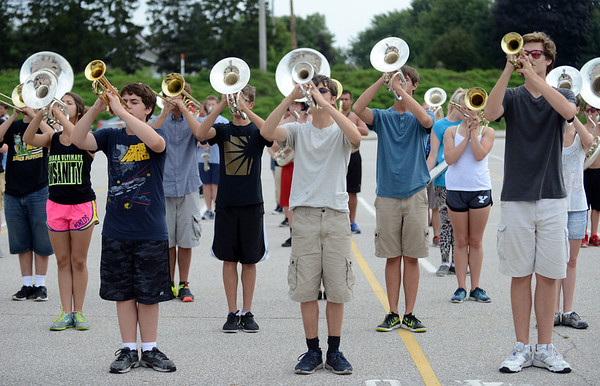 HALEY WARD   THE GOSHEN NEWS<br /> The Marching Raiders rehearse their Edgar Allan Poe themed routine Tuesday at Northridge High School.