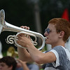 HALEY WARD | THE GOSHEN NEWS<br /> Freshman Joey Garberick plays the mellophone during the Marching Raiders' rehearsal Tuesday at Northridge High School.