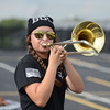 HALEY WARD | THE GOSHEN NEWS<br /> Eighth grader Kathryn Flannery plays the trombone during the Marching Warrior Pride's rehearsal Tuesday at Wawasee High School.