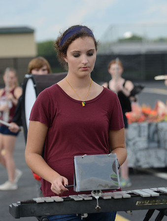 HALEY WARD | THE GOSHEN NEWS<br /> Senior Hannah LaMaine practices during the Marching Warrior Pride's rehearsal Tuesday at Wawasee High School.