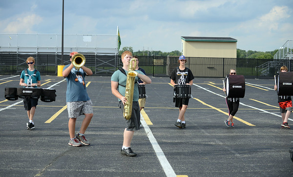 HALEY WARD | THE GOSHEN NEWS<br /> The Marching Warrior Pride rehearses Tuesday at Wawasee High School.
