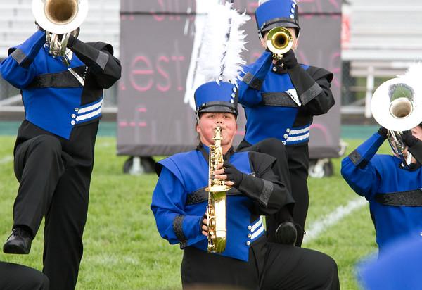 Fairfield saxophone player Abbi Poff plays at the Crimson Marching Festival Saturday.
