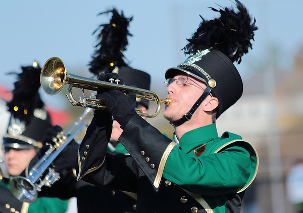 STACEY DIAMOND | THE GOSHEN NEWS<br /> Trumpet soloist Cedric Church of the Wawasee High School Marching Warrior Pride performs Saturday during the Class B semistate competition.