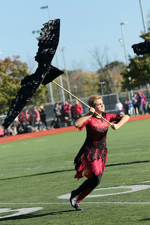 STACEY DIAMOND | THE GOSHEN NEWS<br /> Morgan Pooters of the Northridge Raider Band performs Saturday during the Class B semistate competition.