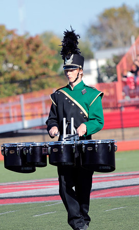 STACEY DIAMOND | THE GOSHEN NEWS<br /> Shea Henn of the Wawasee High School Marching Warrior Pride performs Saturday during the Class B semistate competition.