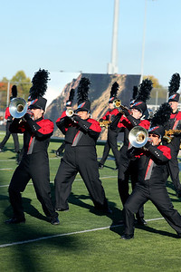 PHOTO CONTRIBUTED | PHOTOGRAPHY BY BATEMAN Members of the NorthWood Red Regiment perform Saturday during the Class C semistate competition.