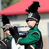 STACEY DIAMOND | THE GOSHEN NEWS<br /> Aileen Wolken of the Wawasee High School Marching Warrior Pride performs Saturday during the Class B semistate competition.