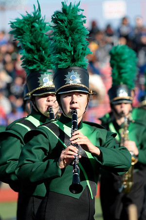 STACEY DIAMOND | THE GOSHEN NEWS<br /> Josh Barrett and Jaime Mast of the Northridge Raider Band perform Saturday during the Class B semistate competition.